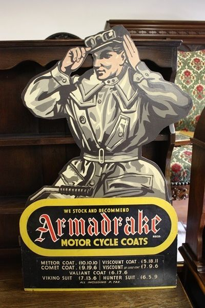 Armadrake Motor Cycle Coats Hard Board Sign Arriving Nov
