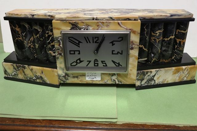 Art Deco Algerian Marble Mantle Clock