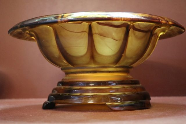 Art Deco Amber Glass Bowl + Stand