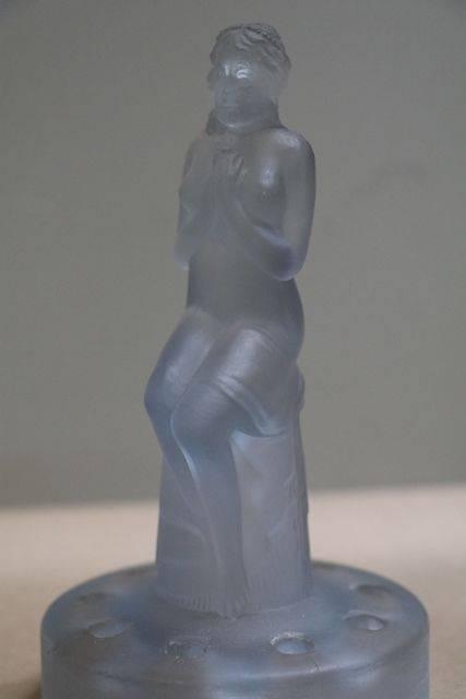 Art Deco Blue Glass Float Bowl Figure
