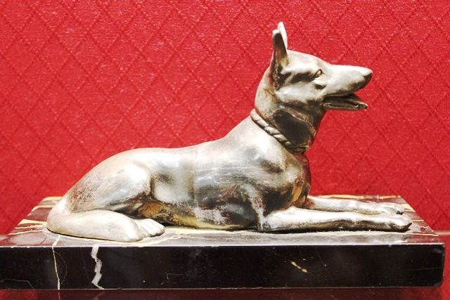 Art Deco Bronze and Marble Figure of a German Shepherd Dog