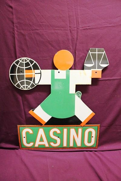 Art Deco Die Cut Casino Enamel Sign