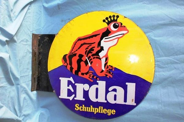 Art Deco Erdal Frog Double Sided Enamel Sign