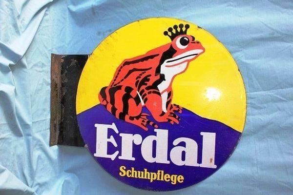 Art Deco Erdal Frog Double Sided Enamel Sign