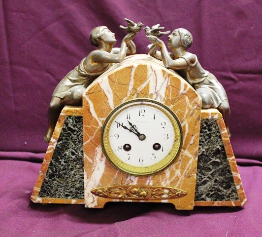 Art Deco Marble And Spelter Clock