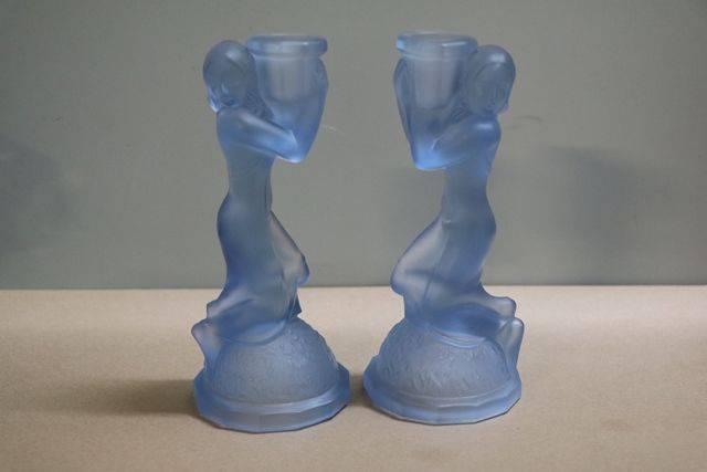 Art Deco Pair Of Blue Glass Candlesticks