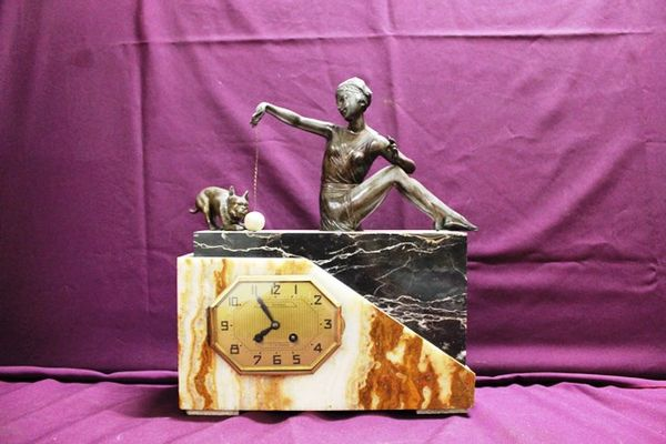 Art Deco Spelter And Marble Clock