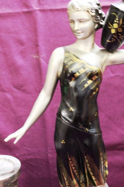 Art Deco Spelter And Marble Figure   The Water Carrier C1920 30