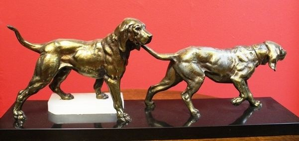 Art Deco Spelter Dog Group on Marble Base