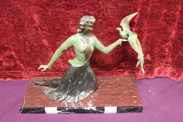 Art Deco Spelter Figure   Bird In Hand