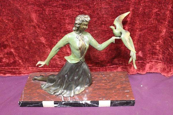 Art Deco Spelter Figure   Bird In Hand