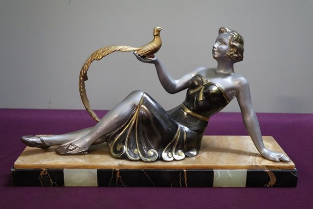 Art Deco Spelter Figure of Girl With Peacock On Marble Base C1925