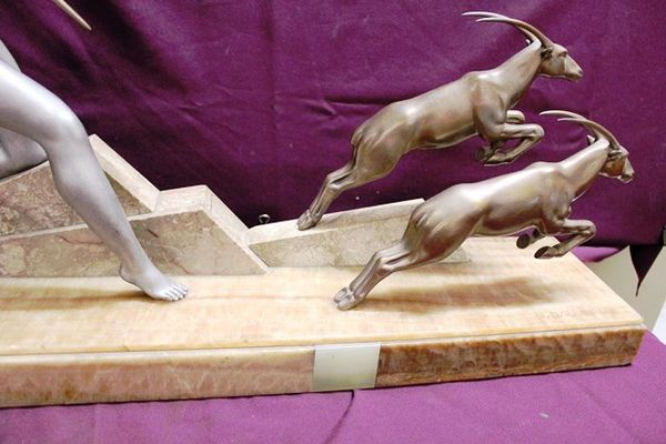 Art Deco Spelter Group     Diana The Huntress