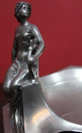 Art Nouveau Polished Pewter Figural Bowl