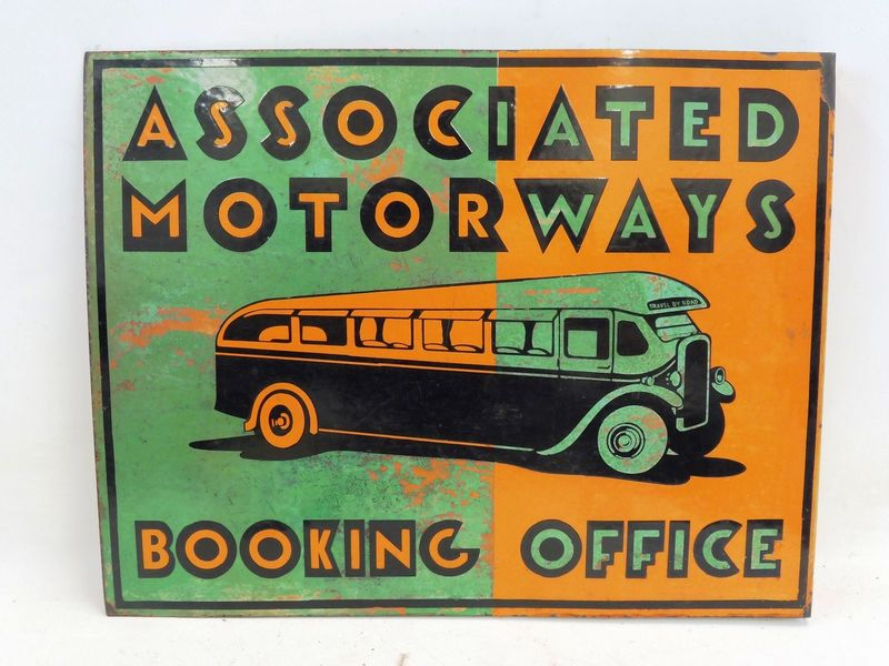 Associated Motorways Double Sided Pictorial Enamel Sign