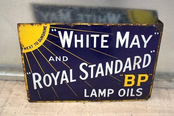 BP White May Double Sided Enamel Sign Arriving Nov