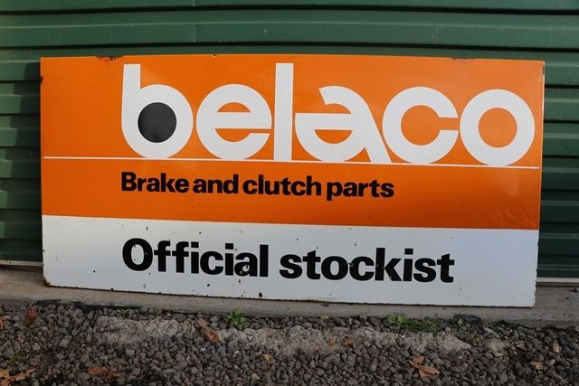 Belaco Official Stockist Enamel Advertising Sign