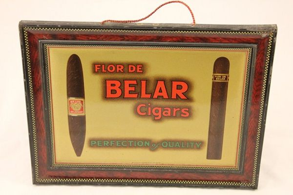 Belar Cigars Pressed Tin Ad Sign