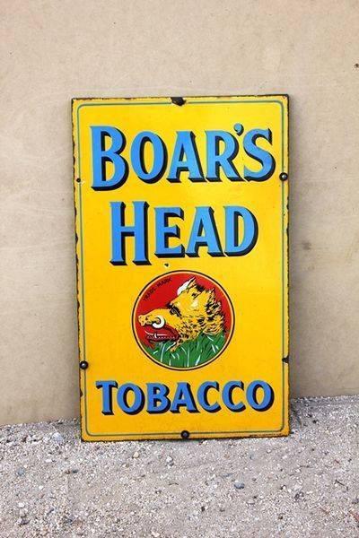 Boars Head Tobacco Enamel Sign