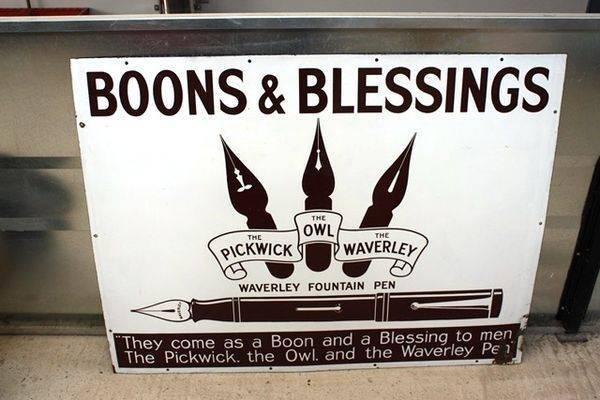 Boons + Blessing Fountain Pens Enamel Sign Arriving Nov