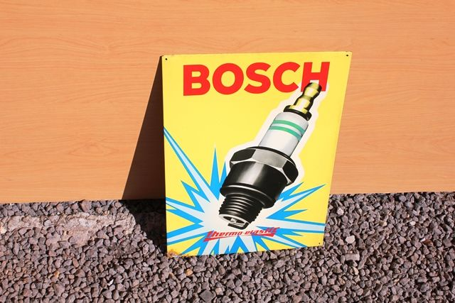 Bosch Pictorial Spark Plug Tin Advertising Sign