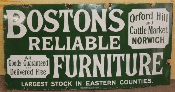 Bostons Furniture Enamel Advertising Sign