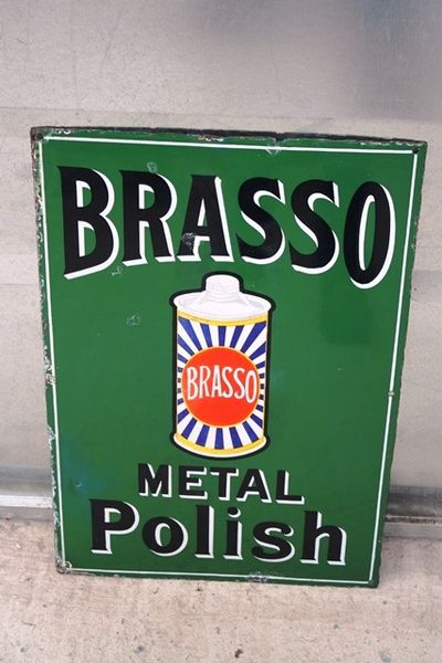 Brasso Metal Polish Enamel Sign Arriving Nov