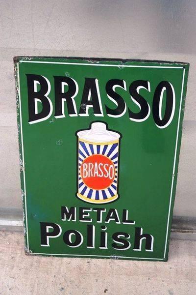 Brasso Metal Polish Enamel Sign Arriving Nov