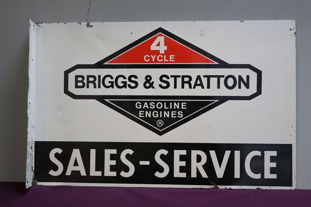Briggs and Stratton Double Sided Tin Advertising Sign