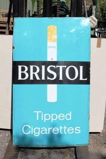 Bristol Tipped Cigarettes Large Enamel Advertising Sign