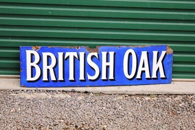 British Oak Enamel Advertising Sign