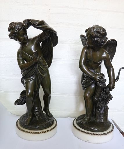 C1790  Pair Of French Bronze Figures On White Carrara Marble Stands