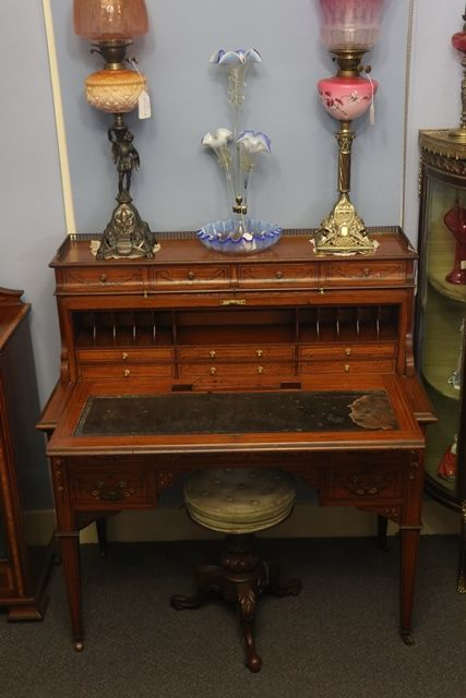 C19th Decorated Satinwood Clyinder  Desk Of Museum Quality