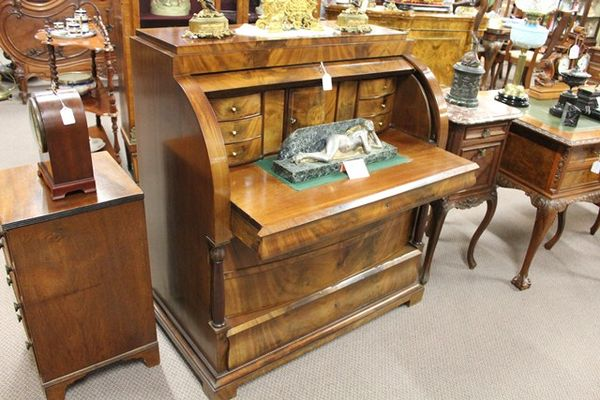 C19th German Beadamire Cylinder Desk