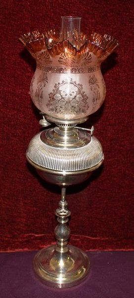 C19th Silver Plated Oil Lamp With Adjustable Column C1900