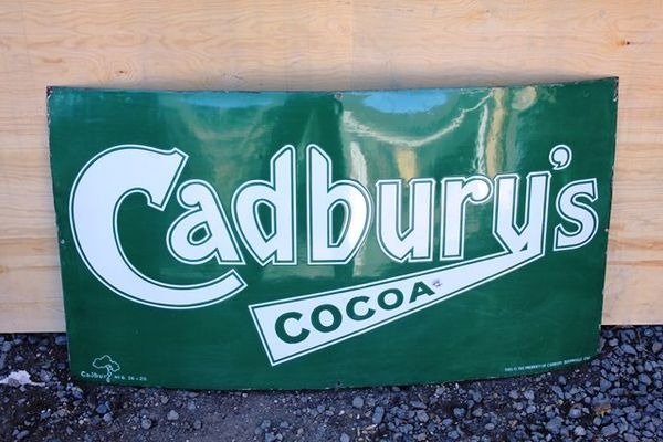 Cadburys Chocolate Antique Enamel Sign