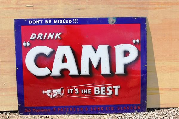 Camp Coffee Enamel Advertising Sign