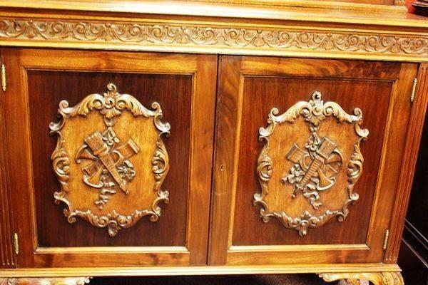 Carved Mahogany 2 Door Bookcase