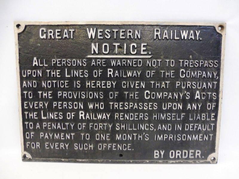 Cast Iron Great Western Railway Notice Sign