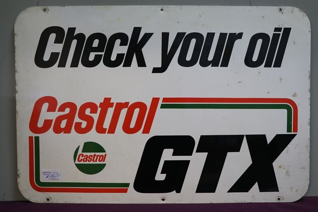 Castrol GTX Check Your Oil Aluminium Advertising Sign