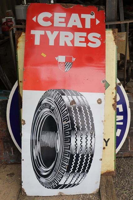 Ceat Tyres Enamel Advertising Sign