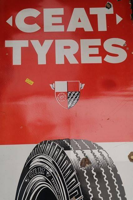 Ceat Tyres Enamel Advertising Sign