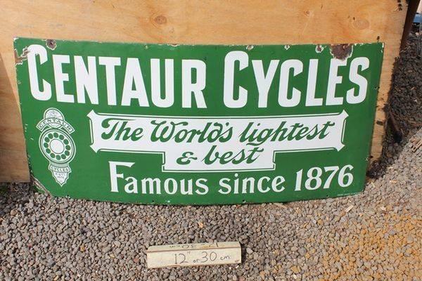 Centaur Cycles Enamel Strip Sign