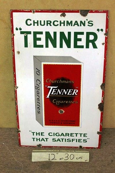 Churchmans Tenner Cigarettes Pictorial Enamel  Sign