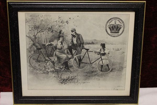 Classic Original Framed Crown Cycles Advertising  Print