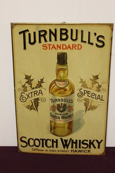 Classic Turnbulls Near Mint Scotch Whiskey Tin Sign