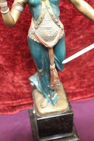 Cold Painted Bronze Figure Of The Sword Dancer C1920  Signed Jaegar