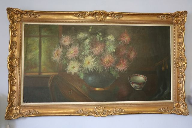 Continental School Still Life of Flowers With a Tea Bowl Oil On Canvas