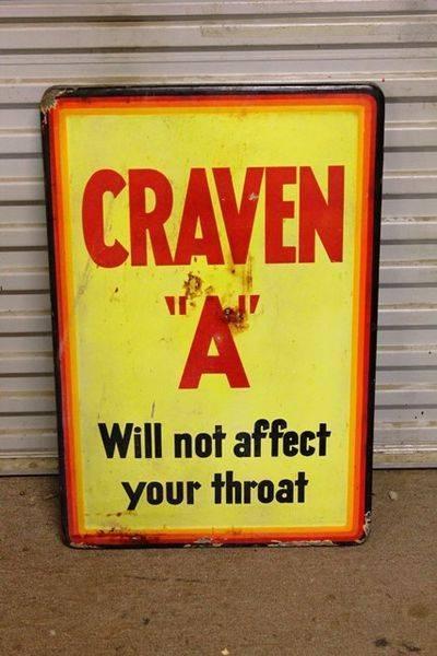 Craven A Enamel Tobacco Sign