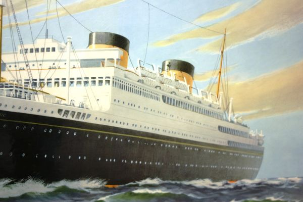 Cunard M V Britannic Advertising Card